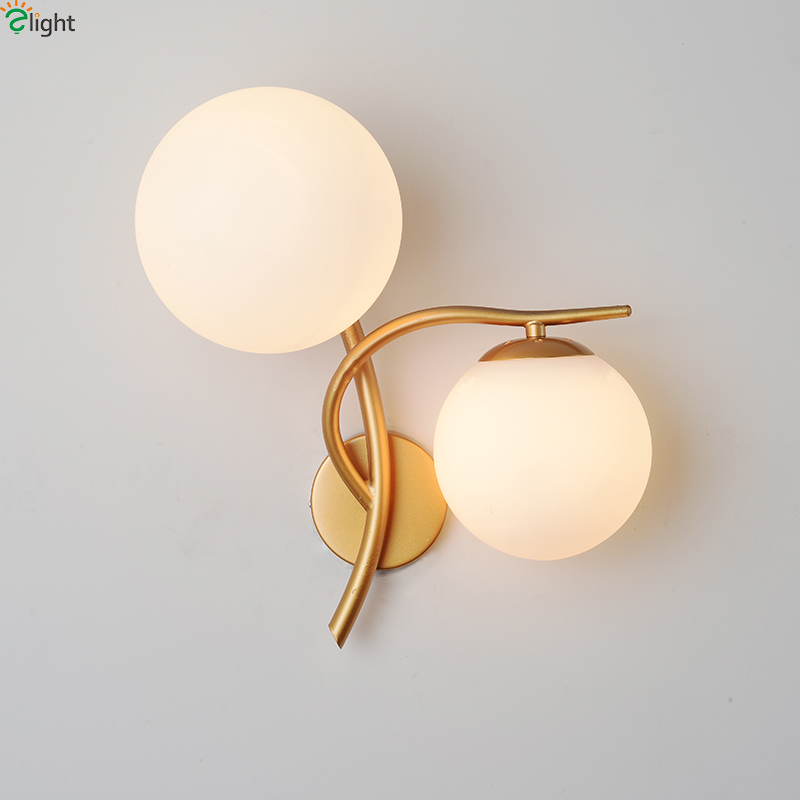 Modern Simple Gold Metal 2 Lights Led Wall Lights Lustre Glass Ball Bedroom Led Wall Light Led Wall Lamp Led Luminaria Fixtures modern simple rectangle led wall lights lustre acrylic bathroom led wall lamp bedroom wall light mirror led lighting fixtures