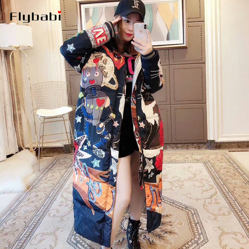 White duck   down   full sleeve Bohemian Cartoon   Down     Coats   2018 Latest Winter New Arrival Elegant Fashion Warm Long   Coat   Women