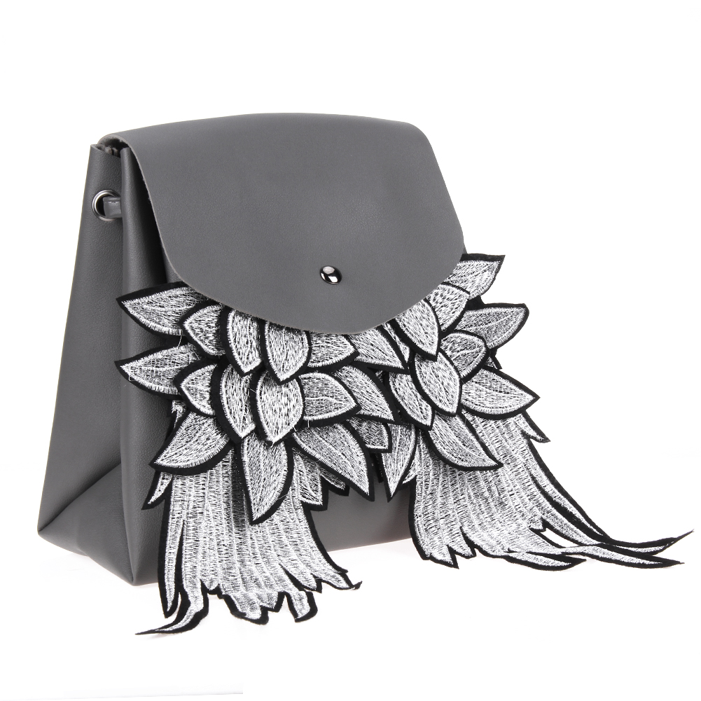 New Women PU Leather Backpack Fashion Wings Embroidery Backpack Bag School Bag for Teenage Girls