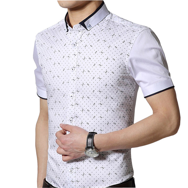 Big Size M-5XL Men Fashion Shirts 2015 New Summer Mercerized Cotton Clothing 2016 Man Casual Printed White Shirts