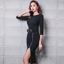 Элегантный сторона высокий разрез на молнии Пояса пакет хип Для женщин деловая модельная одежда Твердые тонкая талия круглый Средства ухода за кожей Шеи Party Vestidos Mujer Femme