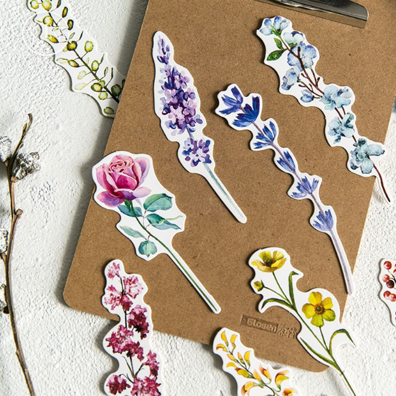 30 Pcs/pack Flower Label Plant Student Stationery Bookmark Paper Cartoon Promotional Gift Stationery Message Card Bookmark