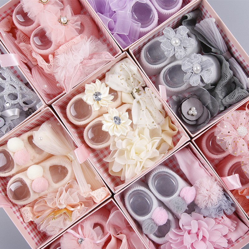 Newborn Baby Girls Headband Bow Flowers Cloth Hair Bands Hair Accessories Socks Gift Boxes Three-piece Suit