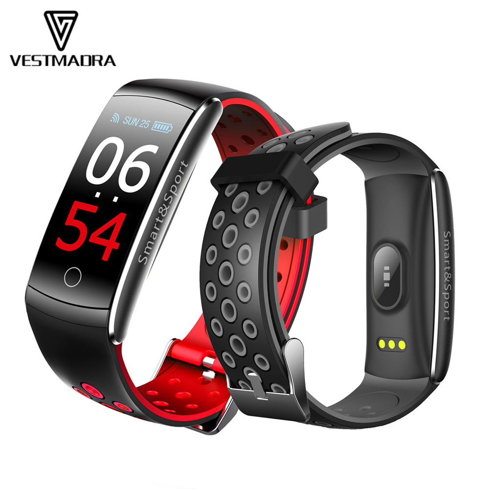 VESTMADRA Q8S IPS Color Screen Smart Bracelet Blood Pressure Fitness Tracker Smart Wristband Heart Rate Monitor Waterproof Watch