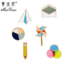Manxiuni 6 pcs/set Mode Seri Pensil Origami Origami Pesawat Amplop WindmillCartoon Bros Tombol Pin Tas Denim Jaket Pin(China)