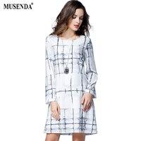 MUSENDA Plus Size Women Beige Print Chiffon Lining Short Dress 2017 Autumn Female Office Lady Party