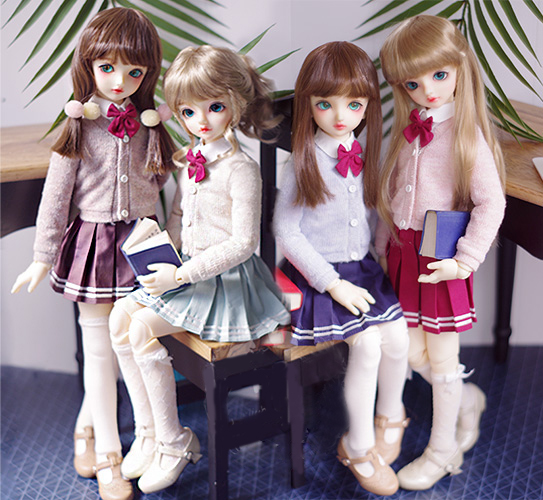 BJD Clothes Student Uniformed The Cardigan Skirt Suit For 1/4 BJD MSD Baby Doll Universal Clothes Doll Accessories