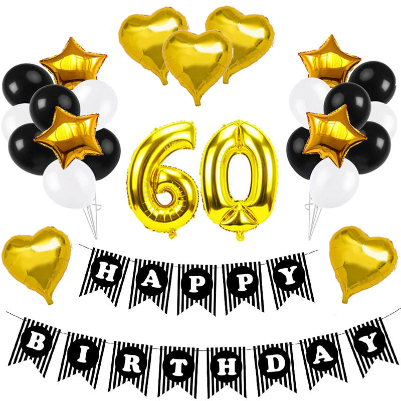 Adults 60th 70th 80th 90th Happy Birthday Party Decorations Balloons Banner Kit 60 70 80 90 Years Old Supplies