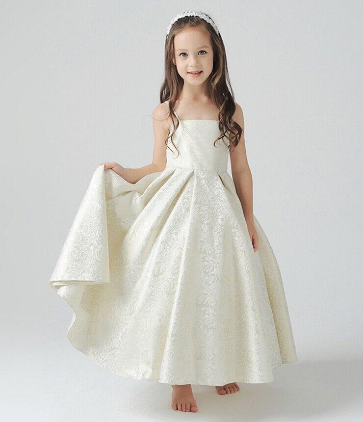 ФОТО Girl Princess Dress Lace Wedding Luxury Drape Maxi Long Party Dress Slip Pleated Girls First Communion Dress