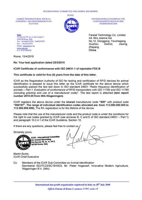 ICAR Certificate -Faread-