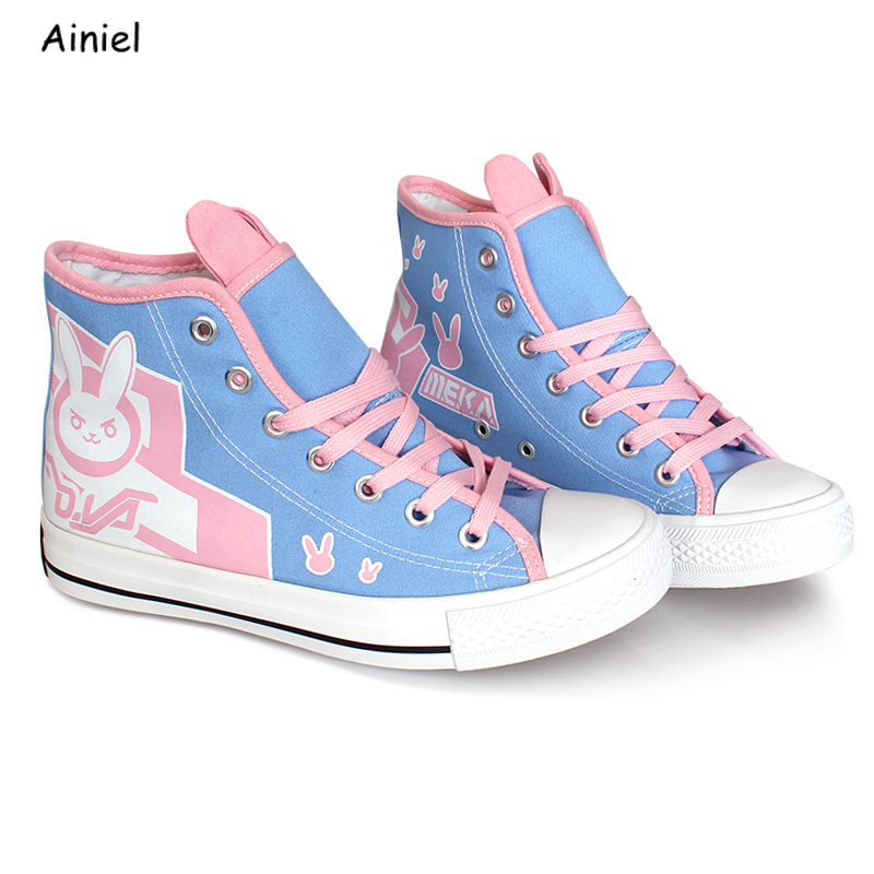 Hot Game OW <font><b>D.Va</b></font> <font><b>Shoes</b></font> DVA Sneakers DJ Tracer Mercy Cosplay Flat Heel Sports <font><b>Shoes</b></font> Halloween Party For Woman Girls image