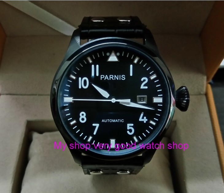 47mm PARNIS Automatic Self-Wind Mechanical movement men's watch Black dial PVD case luminous Mechanical watches zdgd117a sapphire 2017 new fashion parnis 45mm black dial st2557 automatic self wind movement men s watch gmt mechanical watches 291