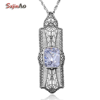 Szjinao Vintage 925 Sterling Silver Long Zircon Stamping Pendant Fashion Sterling Silver Jewelry Statement Necklace for Women