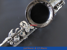 Black Nickel Body and Silver Keys Tenor Saxophone Sax Bb key High F New Case,Black Pearl Buttons