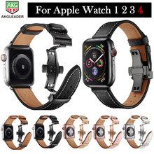 Newest For Apple Watch Genuine Leather Butteryfly Buckle Watch Band Strap For Apple Series 1 2 3 4 38mm 42mm 40mm 44mm iwatch цена