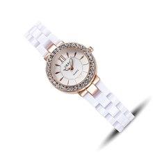 Fashion Automatic women wristwatch Ladies quartz white black simulated ceramic Watch top quality woman waterproof clock