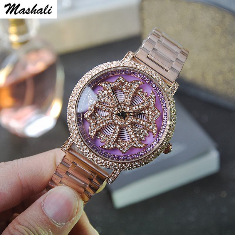 Mashali marque femmes montre en acier inoxydable montres brillant dame Rotation robe montre-bracelet dame horloges meilleur cadeau
