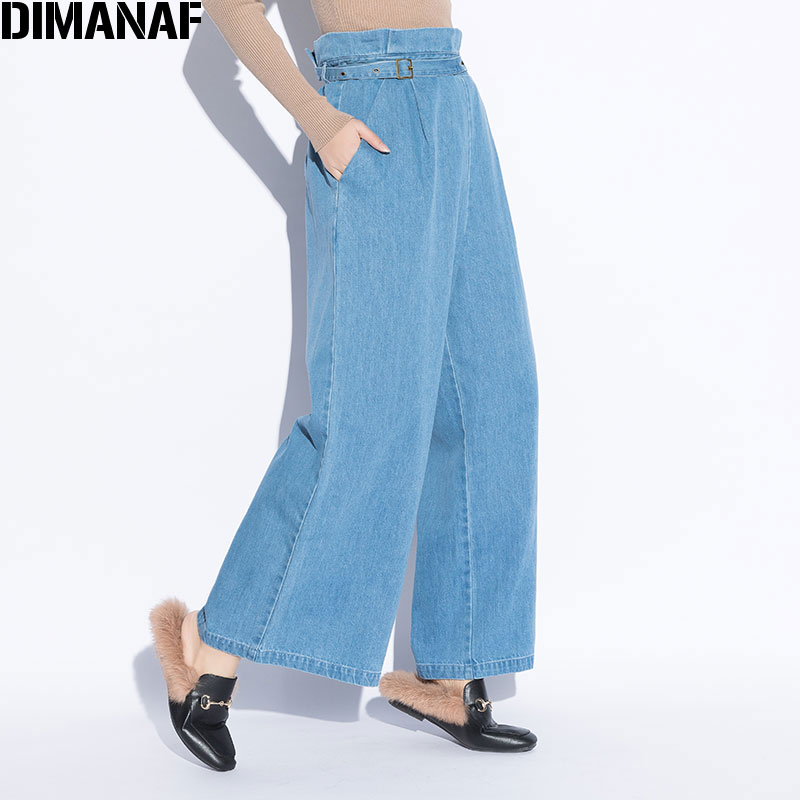 DIMANAF Women Plus Size Long Denim Jeans Female Trousers Vintage Blue Solid Harem   Wide     Leg     Pants   High Waist Autumn Loose 2018