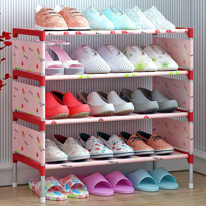 XC USHIO 4/6 Schicht Schuhe Lagerung Rack DIY Nicht-webte Schuh Display Regal Verzinktem Rohr Organizer Montieren Schuh Schrank schuh Stand