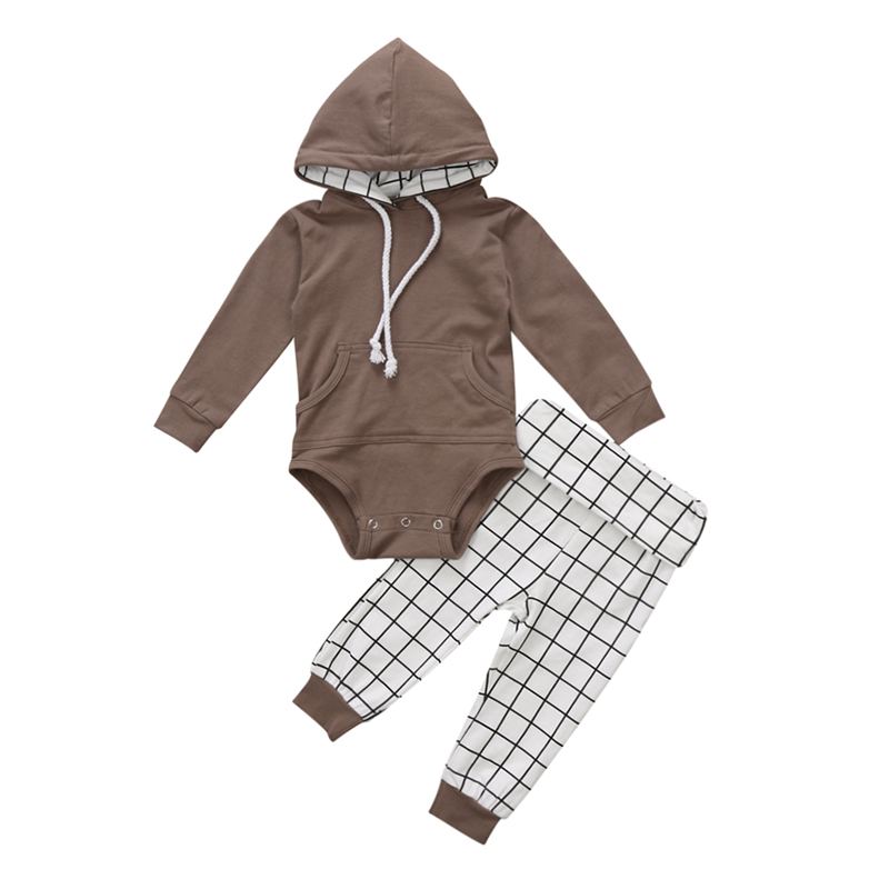 2pcs Baby Boy Hooded Clothes Set Fall Baby Boy Top Solid Romper Hoodie+Plaid Pants Outfits 2017 Hot Bebes Babys Boys Clothes Set