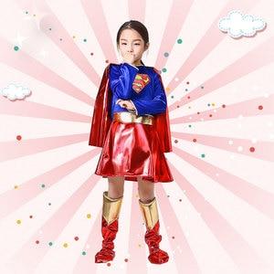 Image 4 - ילדים סופר בנות שמלת קוספליי תלבושות סופרמן סופרוומן חצאית חליפת נעלי סופר hero פלא ילדי בנות סופר Hero בגדים