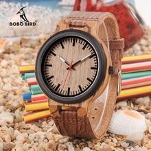 בובו ציפור עץ שעונים גברים נשים שעון רצועת עור עם פשוט Anlaogue תצוגה ב עץ אריזת מתנה מקבלים לוגו