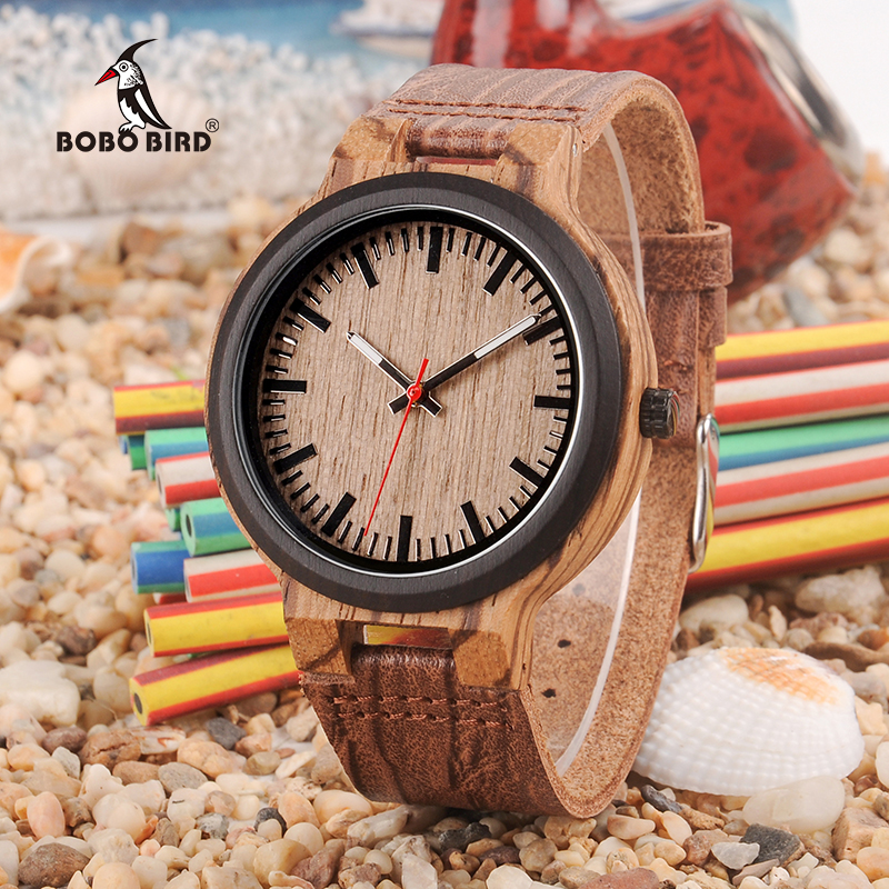 BOBO BIRD Wooden Timepieces Men Women Watch Leather Band  With Simple Anlaogue Display In Wooden Gift Box Accept Logo
