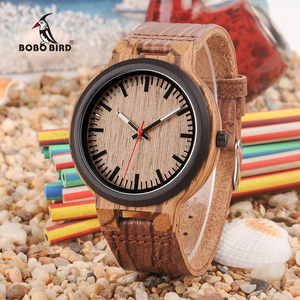 Image 1 - BOBO BIRD Wooden Timepieces Men Women Watch Leather Band  With Simple Anlaogue Display in Wooden Gift Box Accept Logo