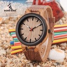 BOBO BIRD drewniane zegarki mężczyźni kobiety skórzany pasek do zegarka z prostym wyświetlaczem Anlaogue w drewniane pudełko na prezent zaakceptuj Logo