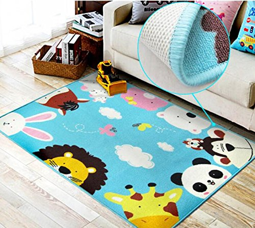 Kids Rug with Animals Heads Printed Baby Rug Play Mat Cartoon Style Children Learning Carpet Play Rugs Kids Rug for Living Room