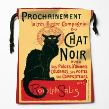 New Custom Chat Noir  Drawstring Bags Storage Printed gift bags  Custom drawstring bags Compression Type Bags