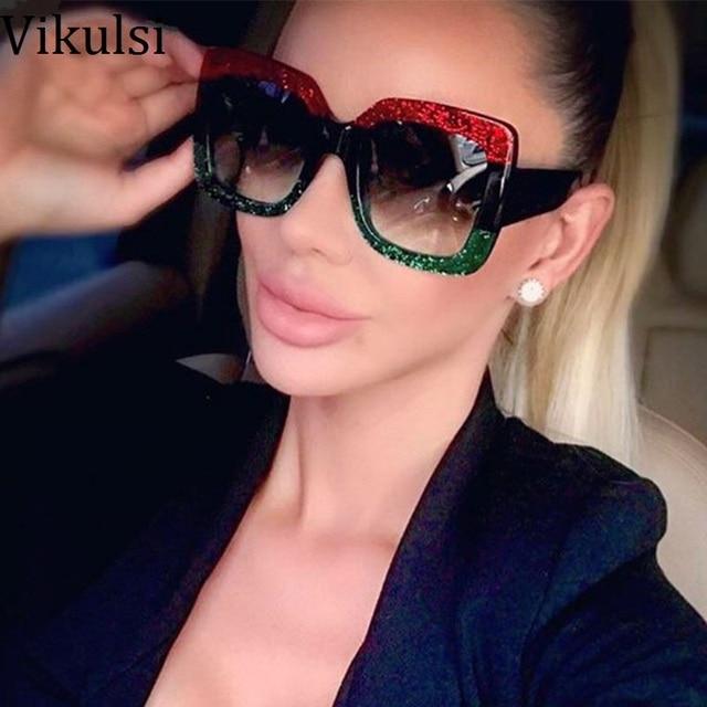 3b235e8756 New Luxury Brand Oversized Sunglasses 2018 Square Green Red Sun glasses For Women  Retro Big Frame