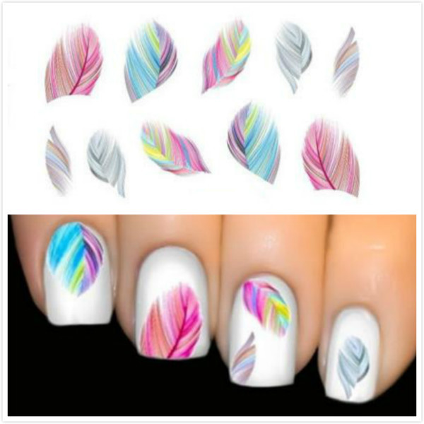 Hot sale women beauty feather nail art water transfer nail art hot sale women beauty feather nail art water transfer nail art stickers tips feather decals prinsesfo Gallery