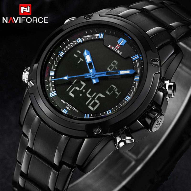 Top Luxury Brand NAVIFORCE Men Sport Watches Men's Quartz LED Analog Clock Full Steel Man Military Wrist Watch relogio masculino top luxury brand naviforce men sport watches men s quartz led analog clock man military waterproof wrist watch relogio masculino