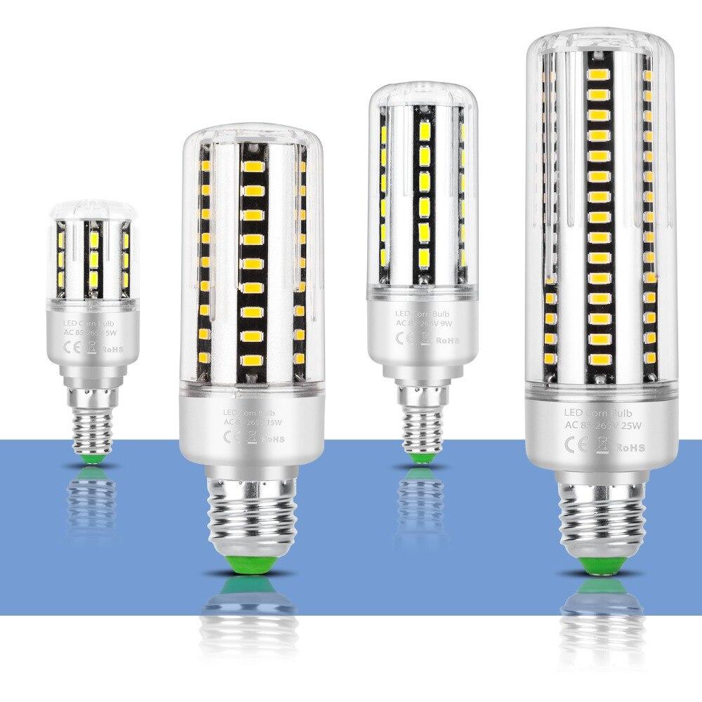 E27 lampe à LED E14 pas de scintillement LED ampoule SMD 5736 LED ultra lumineuse lampe de maïs 5W 7W 9W 12W 15W 20W 25W en aluminium ampoule AC85-265V