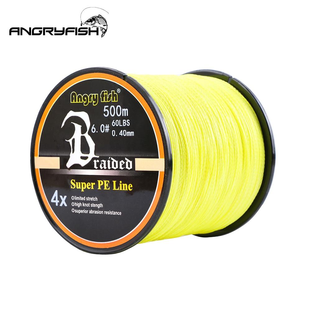 Angryfish caliente nuevo 500 m 4 hilos línea de pesca trenzada 11 colores Super línea PE fuerza fuerte