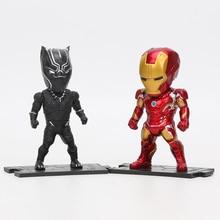 6pcs/set Marvel Toys 8-10cm Avengers Infinity War Thanos Ironman Spiderman Captain Hulk Black Panther PVC Action Figures Model