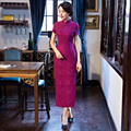 Shanghai Story Short Sleeve Chinese Styled dresses long cheongsam gown chinese dresses Lace qipao dress for Autumn