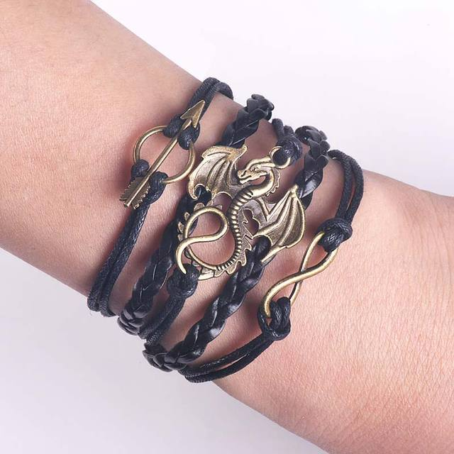 Game of Thrones Men Leather Bracelet Song of Ice and Fire Vintage Punk Antique Silver Dragon Charm for Women