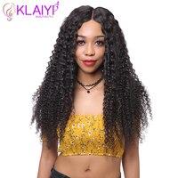 Klaiyi человеческих волос Парики курчавый парик для Для женщин 16 дюймов бразильский Волосы remy Синтетические волосы на кружеве парик #1 #2 #4 есте