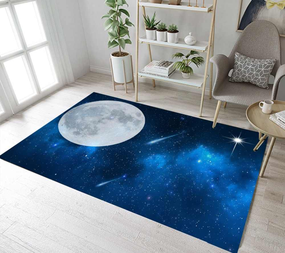 スペース星空ムーンラグやカーペット子供のためのベビーホームリビングルーム大ソフト寝室廊下 WC キッチンドアの床マット