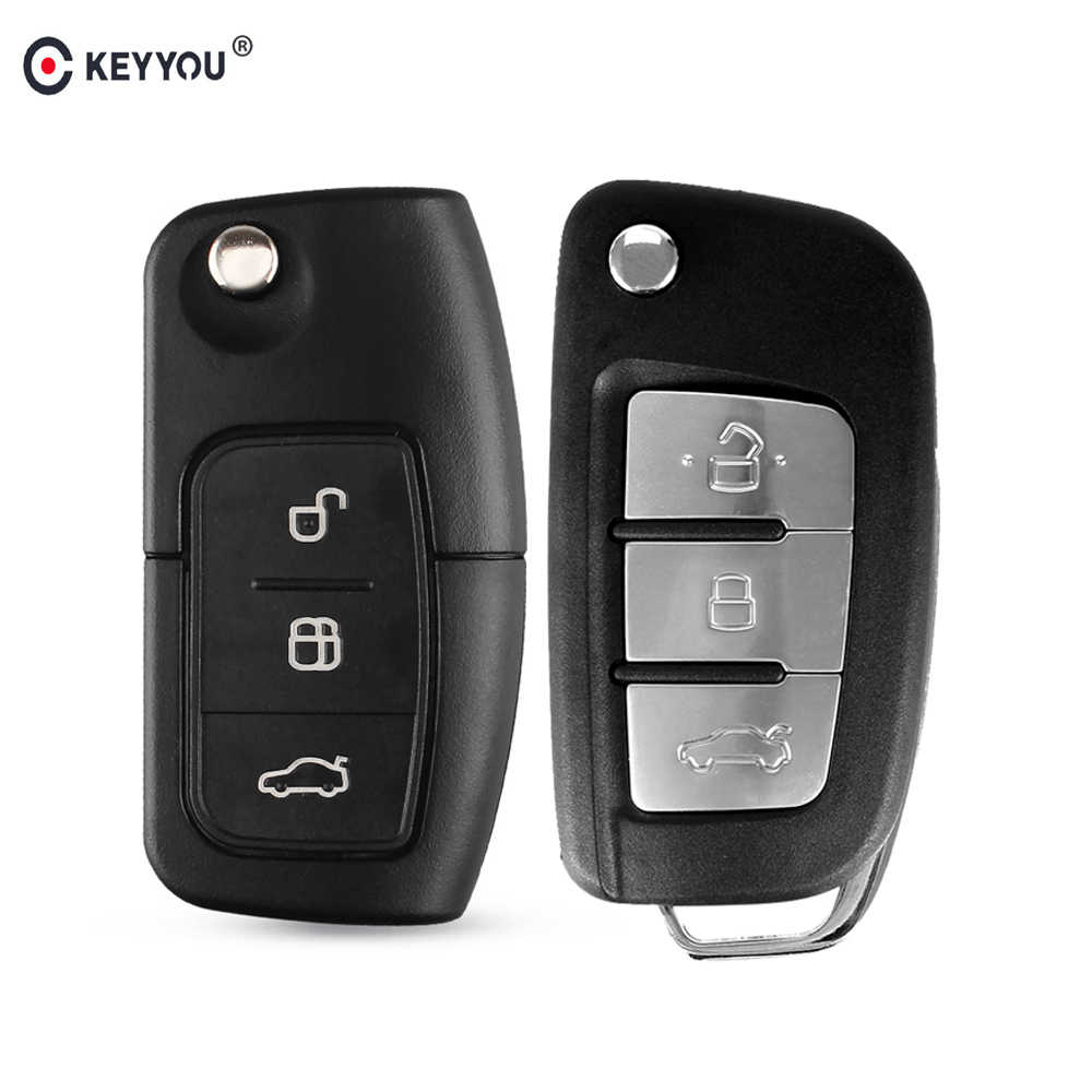 KEYYOU Folding Key Cover Remote Case for Ford Fiesta Focus 2 Ecosport Kuga Escape C Max Ka 3 Buttons Flip Key Fob HU101/FO21