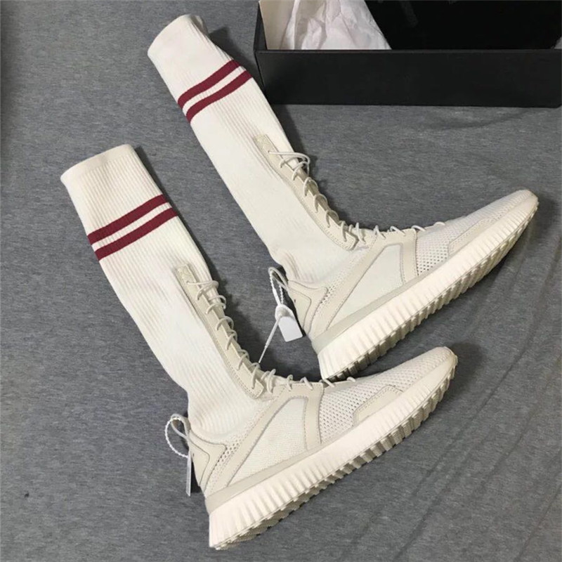2018 Fashion White Red Color Air Mesh Stockings Style Casual Woman Shoes College Style Round Fashion Flat Shoes Cross-tied Boots fashion style