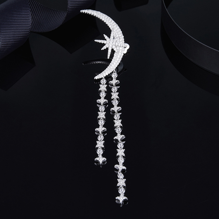Hot brand wedding jewelry cubic zirconia big moon earrings mini stars earrings female girls france monaco brand monaco jewelry
