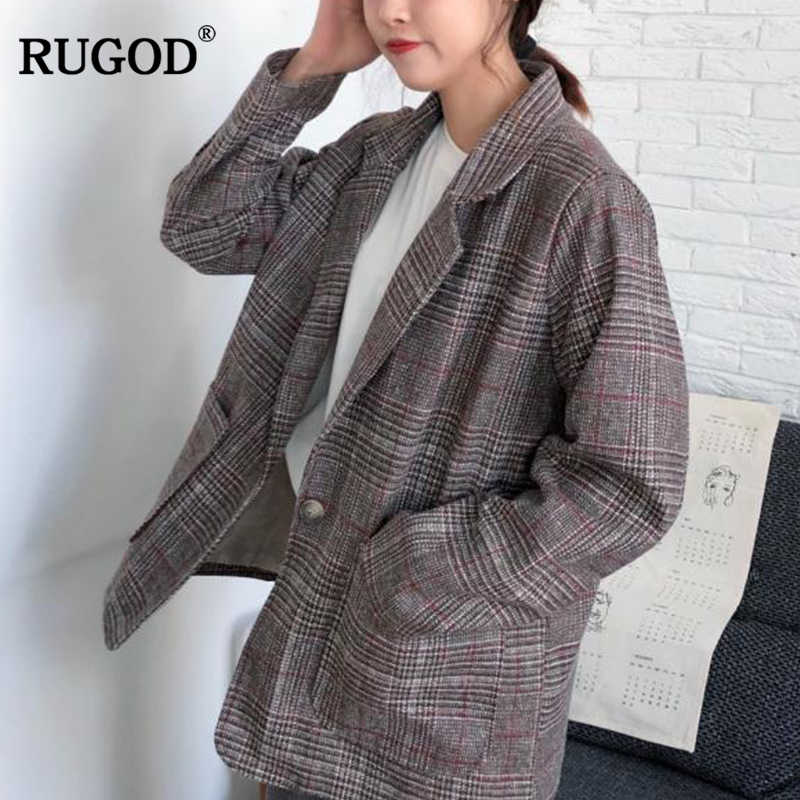 f9ffa2354 RUGOD 2018 New Autumn Wool Coat Women Elegant Office Lady Plaid Blazer  Female Vintage Long Sleeve