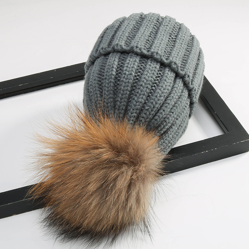 2017 Fashion Children Winter Raccoon Fur Hats 100% Real Wool Cap Natural Fur Hat For Parent-child Knitted Crochet Beanie the new children s cubs hat qiu dong with cartoon animals knitting wool cap and pile