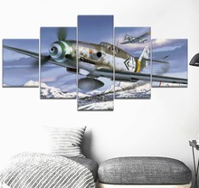 5 Pieces Messerschmitt Bf 1  Military For Modern Decorative Bedroom Living Room Home Art Decor HD Print Painting A work of art