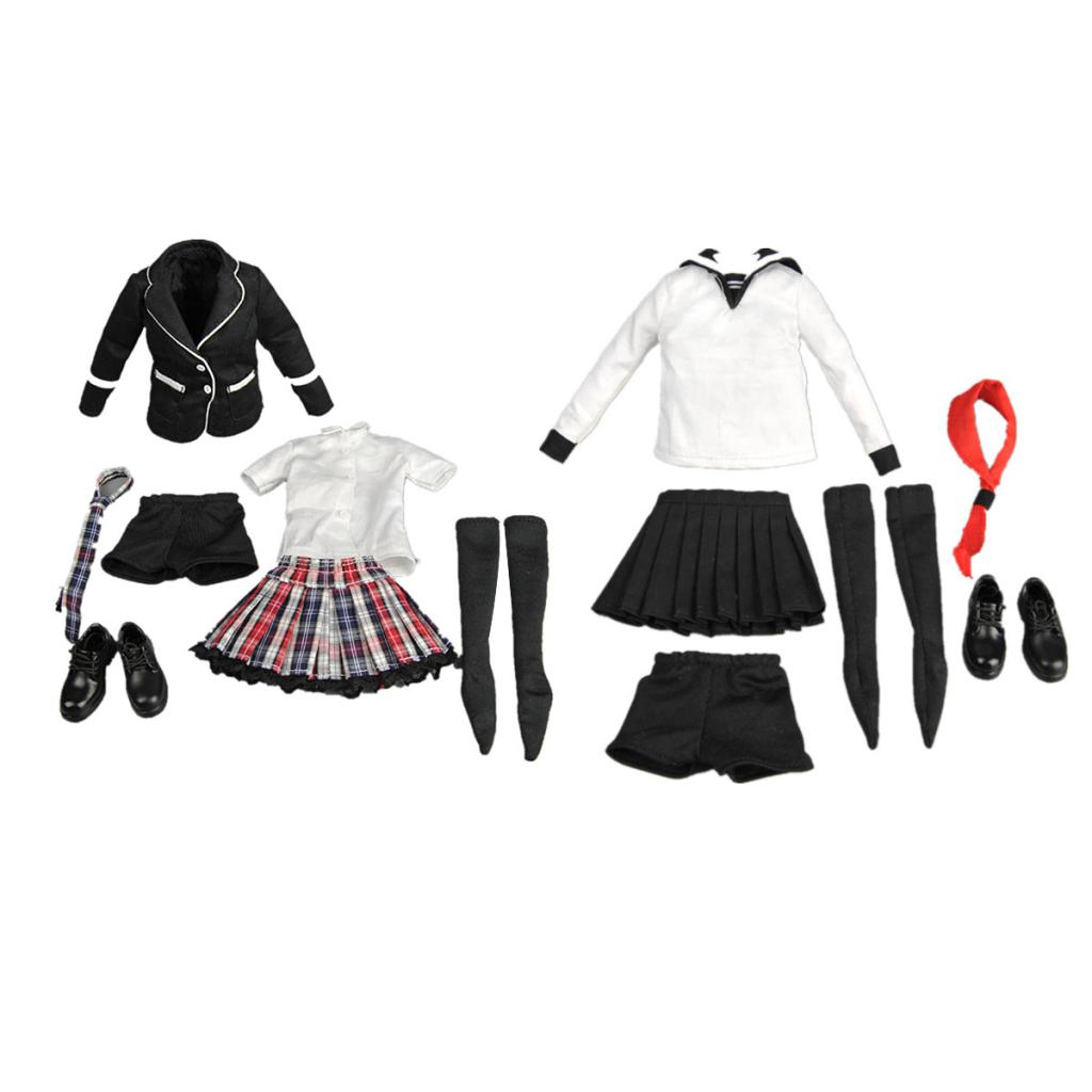 Hot Sale 2 Sets 1/6 Scale Women Female Clothes School Uniform for 12' Action Figures Phicen Kumik Hot Toys Accessories Gift 1 6 women scale action figures silver imitation leather glittered female clothing suit body underwear shorts set fit 12 phicen
