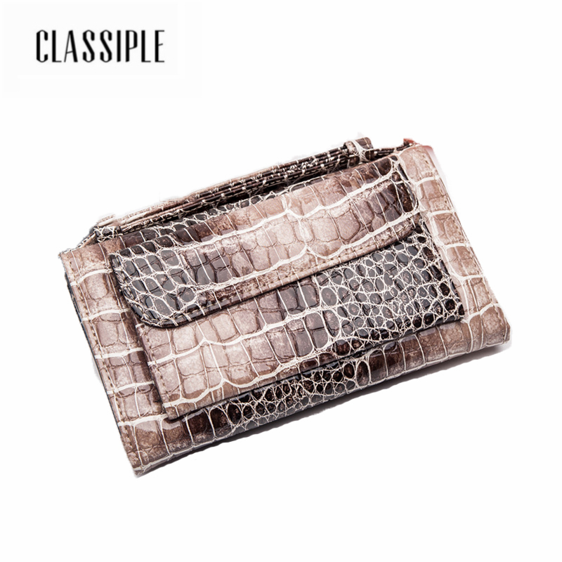 цена на Genuine Leather Women Purse Fashion Females Zipper Long Serpentine Zipper Design Cell Phone Card Holder Girls Wallet Long Ladies