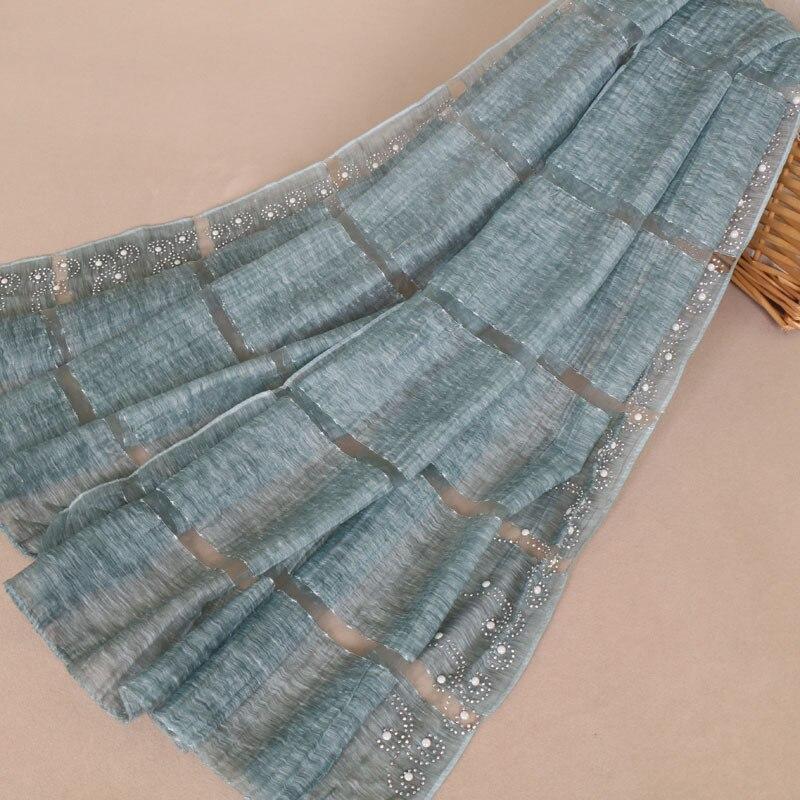2019 Women Luxury Brand Plain Pearl Beads Silk Wool Shawl Scarf Laser Cut Plaid Soft Pashmina Stole Foulard Hijab Snood 170*75Cm